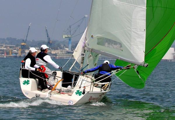 Luck of the Irish? Brad Lawson's Redbeard out of Denver boasted a green spinnaker and shamrocks in the Ultimate 20 class of Saturday's regatta. Credit Chris Stone